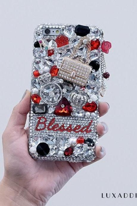 Fashion Queen Diamond Purse Personalized Name Initials Genuine Crystals Bling Case For iPhone X XS Max XR 7 8 Plus Samsung Galaxy S9 Note 9