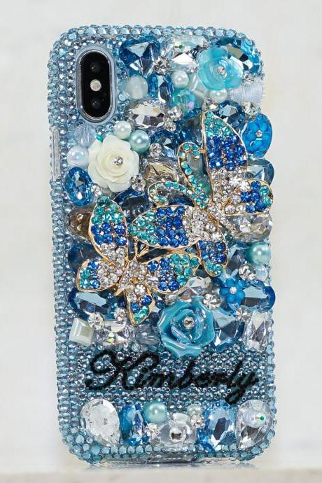 Aqua Blue Butterfly Rose Personalized Name Initials Genuine Crystals Bling Case For iPhone X XS Max XR 7 8 Plus Samsung Galaxy S9 Note 9 / 8