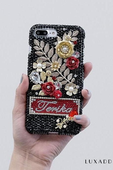 Vintage Golden Roses Personalized Name Initials Genuine Crystals Bling Case For iPhone X XS Max XR 7 8 Plus Samsung Galaxy S9 Note 9 / 8