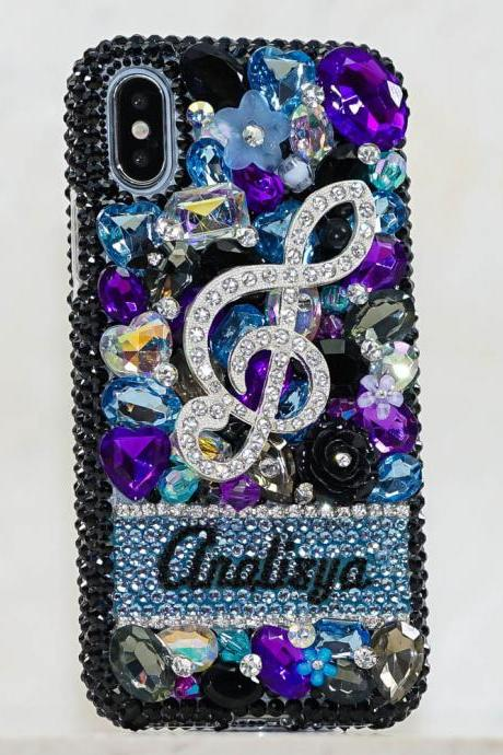 Music Note Personalized Name Initials Genuine Black Purple Crystals Bling Case For iPhone X XS Max XR 7 8 Plus Samsung Galaxy S9 Note 9 / 8