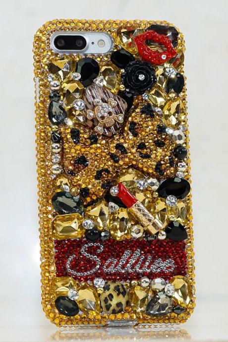 Leopard Bow Skull Personalized Name Initials Genuine Gold Crystals Bling Case For iPhone X XS Max XR 7 8 Plus Samsung Galaxy S9 Note 9 / 8
