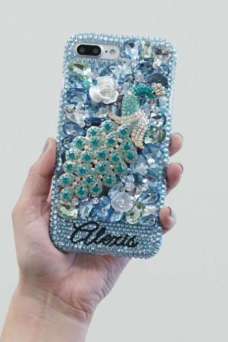 Aqua Blue Diamond Peacock Rose Personalized Name Initials Genuine Crystals Case For iPhone X XS Max XR 7 8 Plus Samsung Galaxy S9 Note 9 / 8