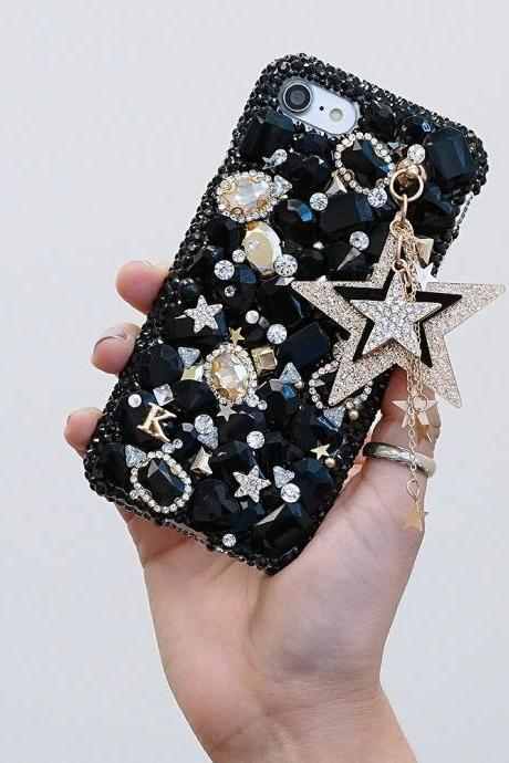 Super Star Personalized Name Initials Genuine Black Stones Gold Crystals Case For iPhone X XS Max XR 7 8 Plus Samsung Galaxy S9 Note 9 / 8