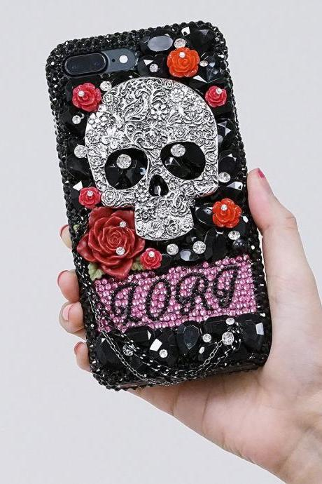 Skull and Red Roses Personalized Name Initials Genuine black Crystals Case For iPhone X XS Max XR 7 8 Plus Samsung Galaxy S9 Note 9 / 8