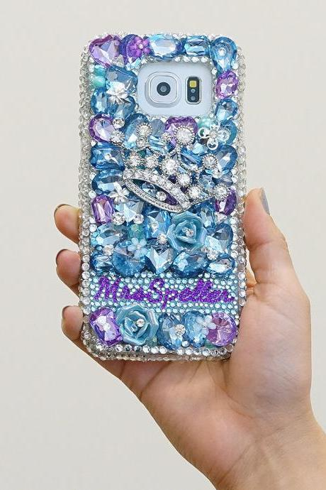 Diamond Crown Personalized Name Initials Genuine Aqua Blue Purple Crystals Case For iPhone X XS Max XR 7 8 Plus Samsung Galaxy S9 Note 9 / 8