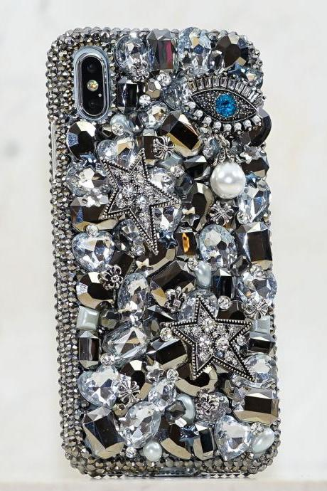 Evil Eye Super Star Pearls Genuine Metallic Crystals Diamond Sparkle Case For iPhone X XS Max XR 7 8 Plus Samsung Galaxy S9 Plus Note 8 / 9