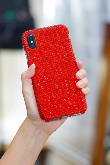 Bling Genuine Bright Red Crystals Case For iPhone X XS Max XR 7 8 Plus Samsung Galaxy S9 Note 9 / 8 Diamond Sparkle Easy Grip Cover