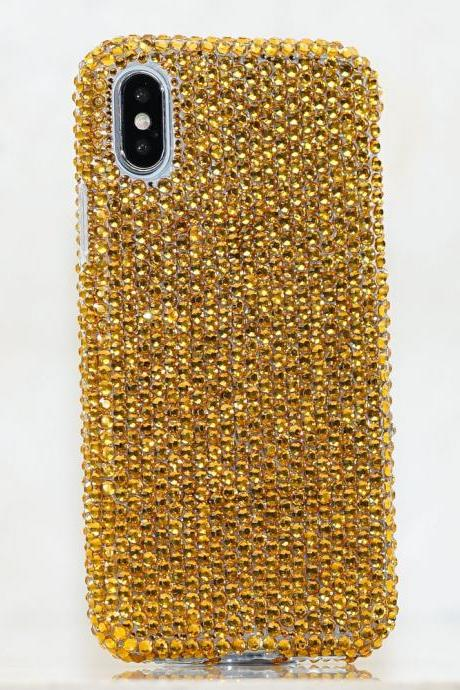 Bling Genuine Royal Gold Crystals Case For iPhone X XS Max XR 7 8 Plus Samsung Galaxy S9 Note 9 / 8 Diamond Sparkle Wedding Gift for her