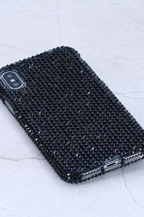 Bling Genuine Jet Black Crystals Case For iPhone X XS Max XR 7 8 Plus Samsung Galaxy S9 Note 9 8 Diamond Sparkle Easy Grip Protective cover