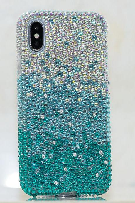 Bling Genuine AB Crystals Faded Turquoise Case For iPhone X XS Max XR 7 8 Plus Samsung Galaxy S9 Note 9 / 8 Diamond Sparkle Protective Cover