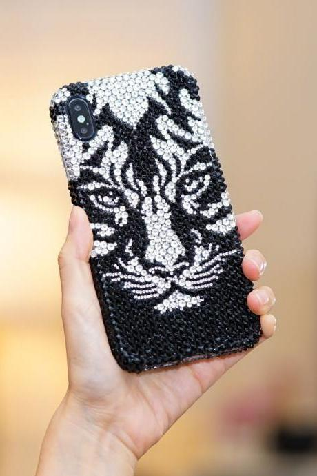 Bling Tiger Genuine Jet Black Clear Crystals Case For iPhone X XS Max XR 7 8 Plus Samsung Galaxy S9 Note 9 / 8 Diamond Sparkle Luxury Cover