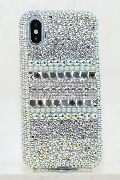Bling Genuine AB Crystals White Pearls Case For iPhone X XS Max XR 7 8 Plus Samsung Galaxy S9 Note 9 / 8 Diamond Sparkle Easy Grip Cover