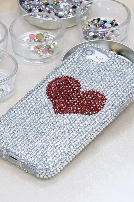 Bling Bright Red Heart Genuine Clear Crystals Case For iPhone X XS Max XR 7 8 Plus Samsung Galaxy S9 Note 9 / 8 Diamond Sparkle Cover