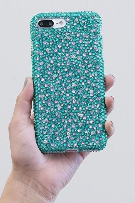 Bling Genuine Turquoise and Lavender Crystals Case For iPhone X XS Max XR 7 8 Plus Samsung Galaxy S9 Note 9 / 8 Diamond Sparkle Cover