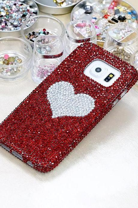 Bling Heart Genuine Red Crystals Case For iPhone X XS Max XR 7 8 Plus Samsung Galaxy S9 Note 9 8 Diamond Sparkle Easy Grip Protective cover