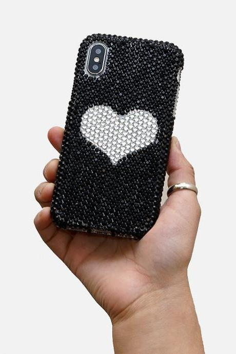Bling Heart Design Genuine Jet Black and Clear Crystals Case For iPhone X XS Max XR 7 8 Plus Samsung Galaxy S9 Note 9 / 8 Diamond Sparkle