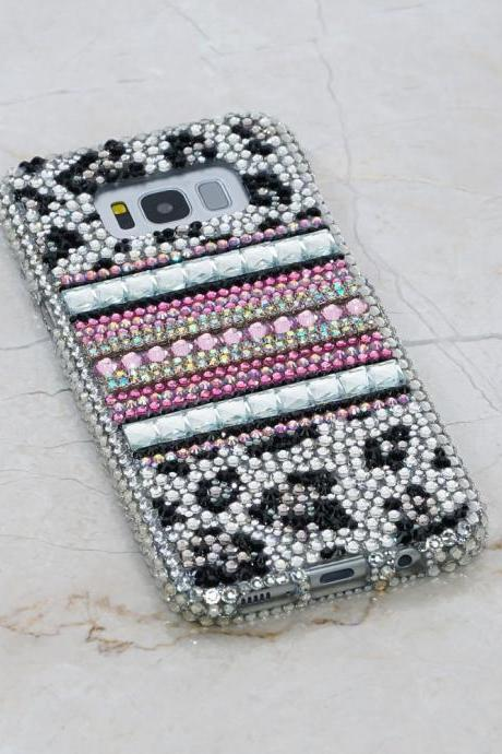 Bling Black and White Leopard Genuine Crystals Case For iPhone X XS Max XR 7 8 Plus Samsung Galaxy S9 Note 9 / 8 Diamond Sparkle Stones