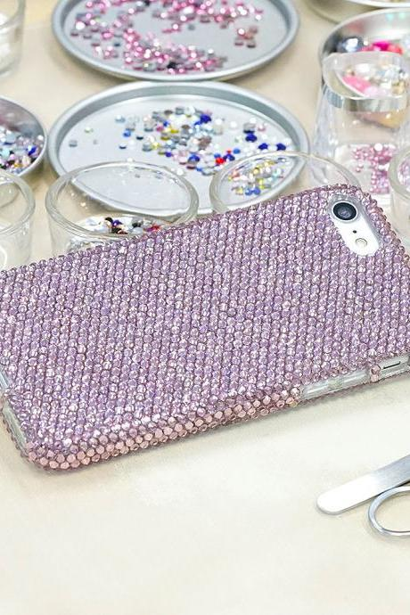 Bling Genuine Light Lavender Crystals Case For iPhone X XS Max XR 7 8 Plus Samsung Galaxy S9 Note 9 / 8 Diamond Sparkle Wedding Gifts