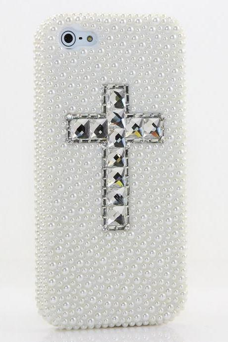 Bling White Pearls Cross Design Genuine Crystals Case For iPhone X XS Max XR 7 8 Plus Samsung Galaxy S9 Note 9 / 8 Diamond Sparkle