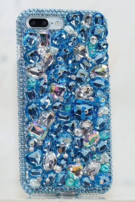 Genuine Crystals Case For iPhone X XS Max XR 7 8 Plus Samsung Galaxy S9 Note 9 Bling Diamond Sparkle Blue Clear Heart Stones