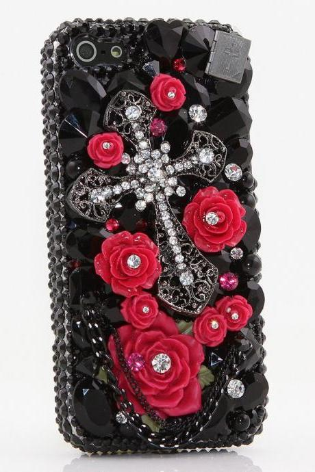 Genuine Crystals Case For iPhone X XS Max XR 7 8 Plus Samsung Galaxy S9 Note 9 Bling Diamond Sparkle Red Roses Cross Black Stones