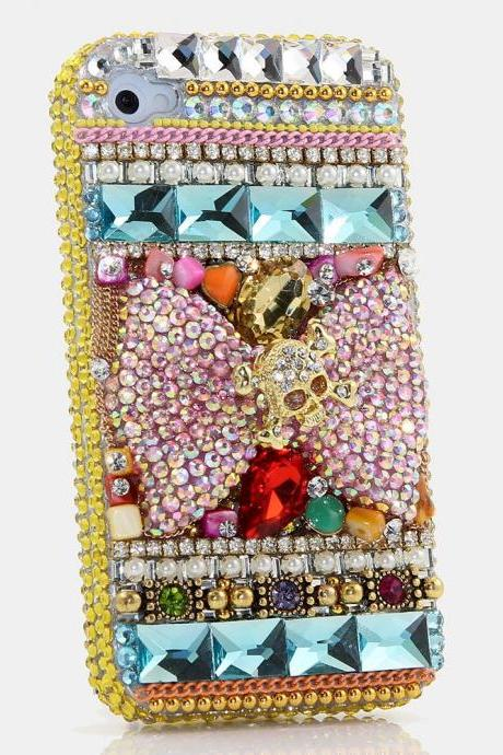Genuine Crystals Case For iPhone X XS Max XR 7 8 Plus Samsung Galaxy S9 Note 9 Bling Diamond Sparkle Pink Bow Golden Skull Designv