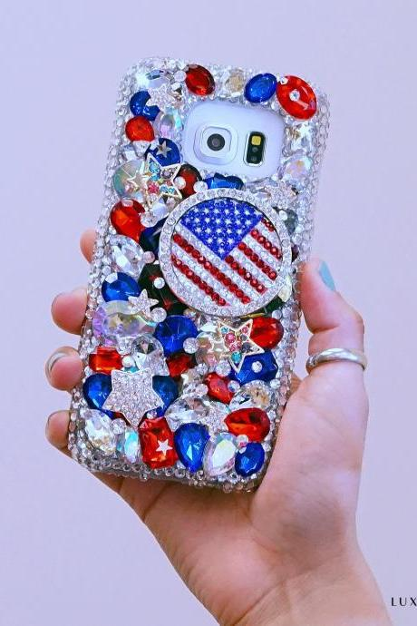 Genuine Crystals Case For iPhone X XS Max XR 7 8 Plus Samsung Galaxy S9 Note 9 Bling Diamond Sparkle American Flag Red Blue Stones
