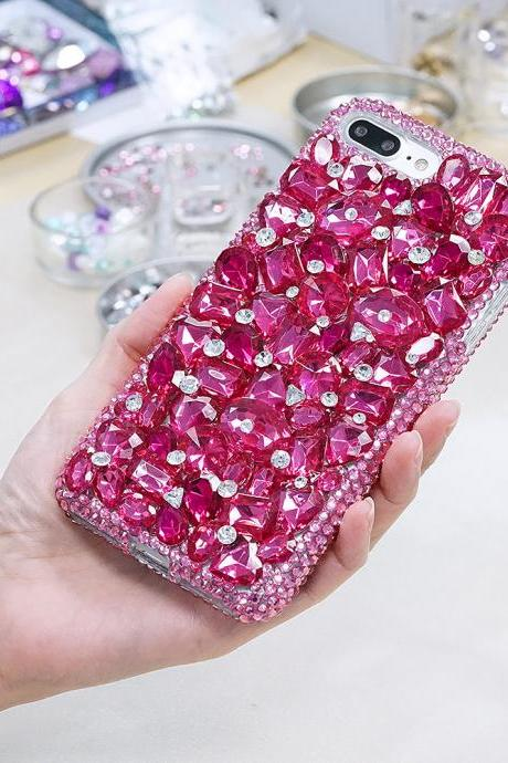 Genuine Crystals Case For iPhone X XS Max XR 7 8 Plus Samsung Galaxy S9 Note 9 Bling Diamond Sparkle Fuchsia Pink Stones Protective Cover