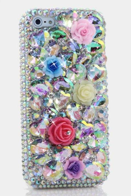 Genuine AB Crystals Case For iPhone X XS Max XR 7 8 Plus Samsung Galaxy S9 Note 9 Bling Diamond Sparkle Rainbow Posies Flowers Roses
