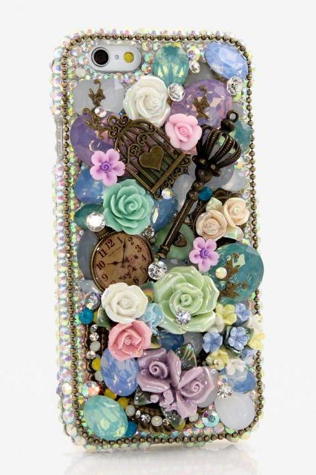 Genuine AB Crystals Case For iPhone X XS Max XR 7 8 Plus Samsung Galaxy S9 Note 9 Bling Diamond Sparkle Vintage Rose Garden Design