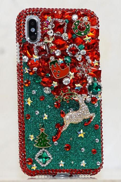 Genuine Crystals Case For iPhone X XS Max XR 7 8 Plus Samsung Galaxy S9 Note 9 Bling Diamond Sparkle Happy Holiday Christmas Design