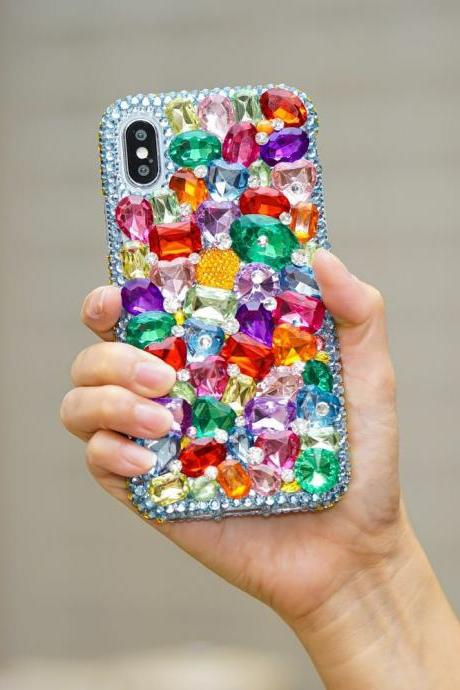Genuine Crystals Case For iPhone X XS Max XR 7 8 Plus Samsung Galaxy S9 Note 9 Bling Diamond Sparkle Rainbow Rock Blue Purple Green Stones