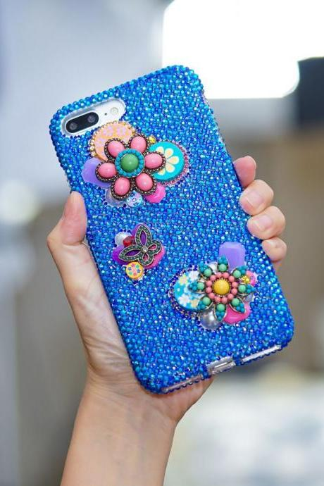 Genuine Crystals Case For iPhone X XS Max XR 7 8 Plus Samsung Galaxy S9 Note 9 Bling Diamond Sparkle Vintage Flowers Butterfly Blue Stones