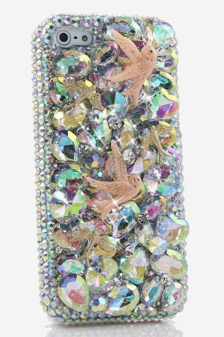 Genuine AB Crystals Case For iPhone X XS Max XR 7 8 Plus Samsung Galaxy S9 Note 9 Bling Diamond Sparkle Doves Design Heart Stones