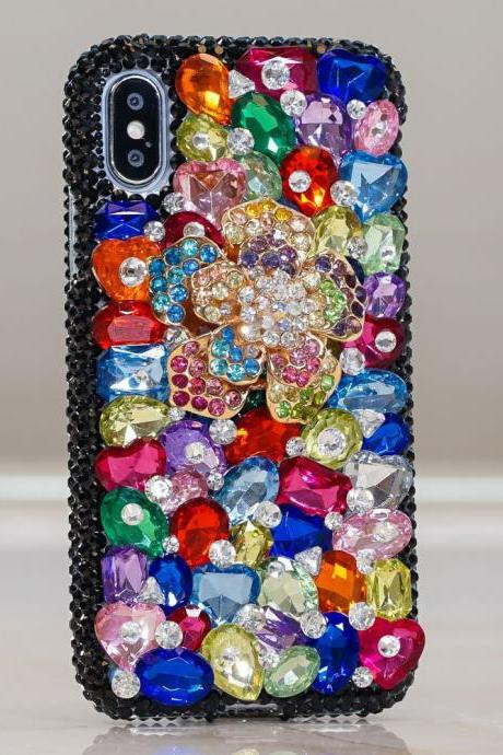 Genuine Crystals Case For iPhone X XS Max XR 7 8 Plus Samsung Galaxy S9 Note 9 Bling Diamond Sparkle Rainbow Floral Blue Red Purple Stones