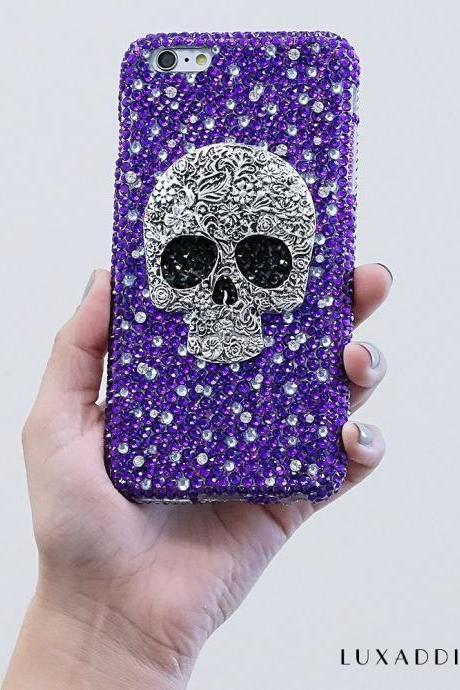 Metallic Skull Vintage Design Genuine Purple Crystals Diamond Sparkle Bling Case For iPhone X XS Max XR 7 8 Plus Samsung Galaxy S9 Note 9