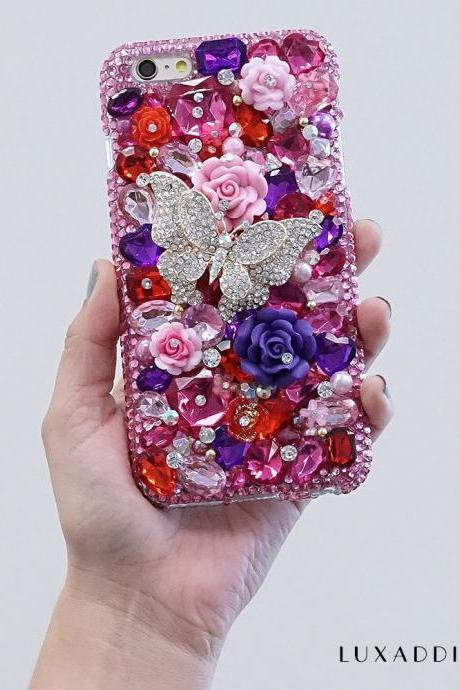 Butterfly Garden Purple Roses Stone Genuine Crystals Diamond Sparkle Bling Case For iPhone X XS Max XR 7 8 Plus Samsung Galaxy S9 Note 9