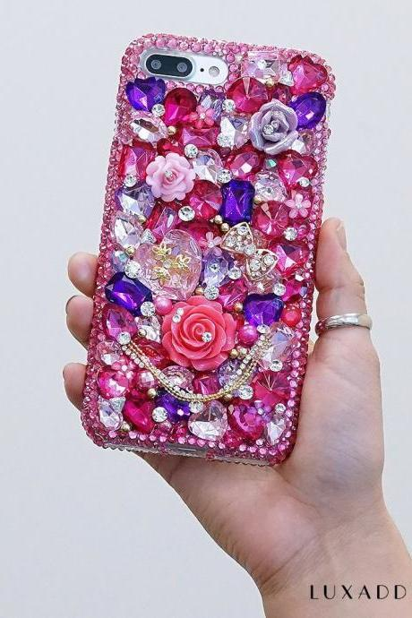 Hot Pink and Lavender Stones Florals Genuine Crystals Diamond Sparkle Bling Case For iPhone X XS Max XR 7 8 Plus Samsung Galaxy S9 Note 9