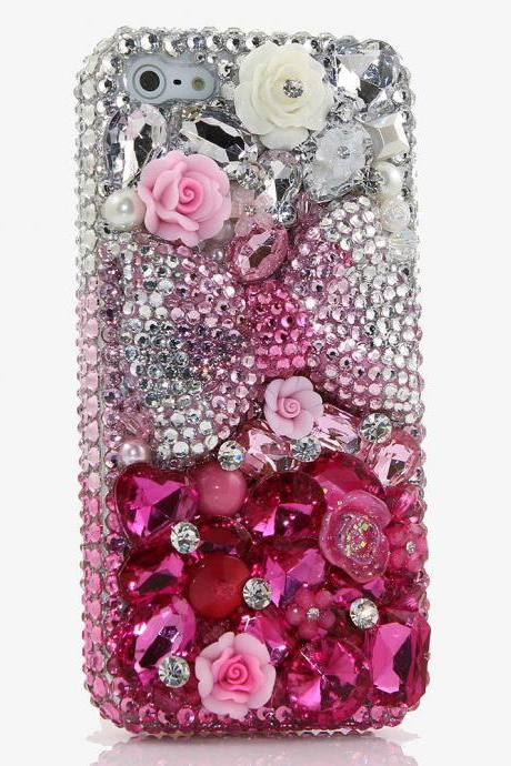 Pink Bow Roses Gem Stones Genuine Clear Crystals Diamond Sparkle Bling Case For iPhone X XS Max XR 7 8 Plus Samsung Galaxy S9 Note 9