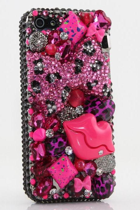 Hot Pink Leopard Bow Red Lips Genuine Black Crystals Diamond Sparkle Bling Case For iPhone X XS Max XR 7 8 Plus Samsung Galaxy S9 Note 9