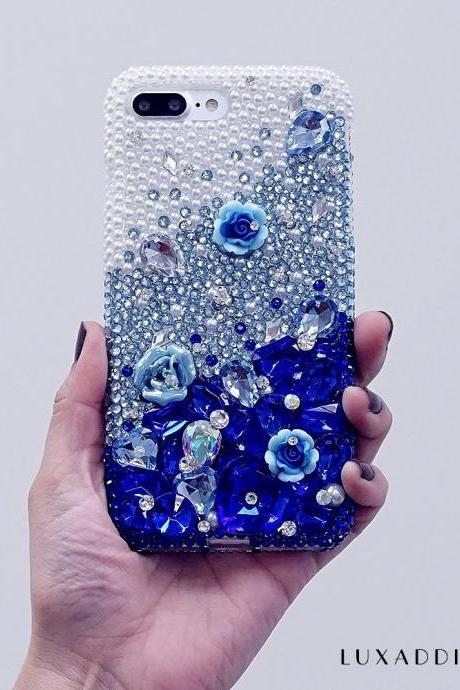 White Pearls Faded to Dark Blue Stones Genuine Crystals Diamond Sparkle Bling Case For iPhone X XS Max XR 7 8 Plus Samsung Galaxy S9 Note 9