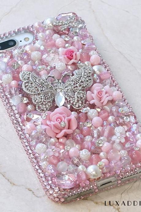 Baby Pink Butterfly White Pearls Genuine Crystals Diamond Sparkle Bling Case For iPhone X XS Max XR 7 8 Plus Samsung Galaxy S9 Note 9