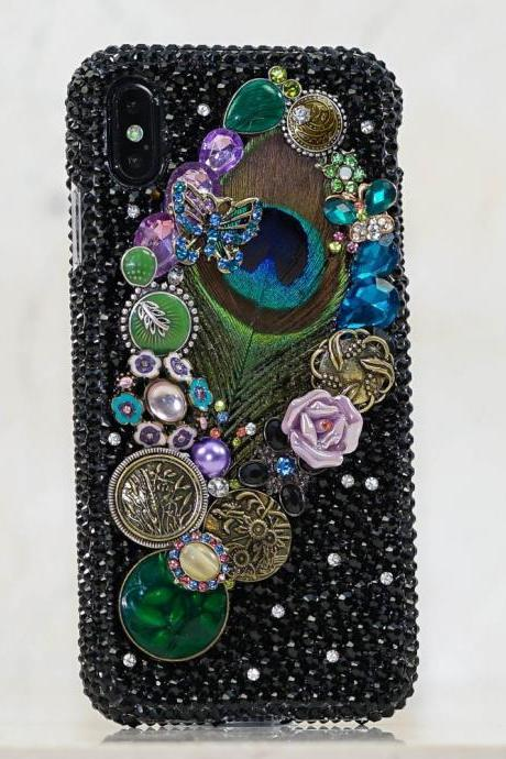 Vintage Peacock Feather Roses Genuine Jet Black Crystals Diamond Sparkle Bling Case For iPhone X XS Max XR 7 8 Plus Samsung Galaxy S9 Note 9