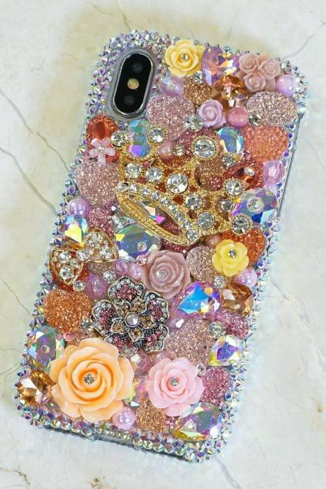 Golden Crown Orange Roses Rainbow Stone Genuine Crystals Diamond Sparkle Bling Case For iPhone X XS Max XR 7 8 Plus Samsung Galaxy S9 Note 9