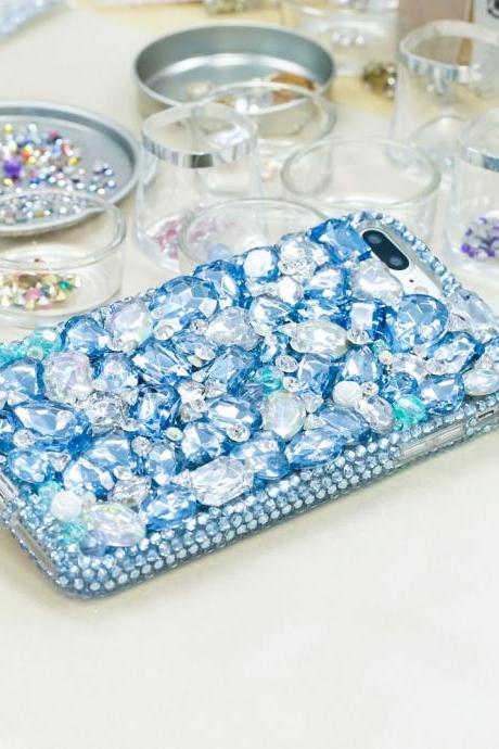 Baby Blue Stones Clear Diamonds Genuine Crystals Sparkle Bling Protective Case For iPhone X XS Max XR 7 8 Plus Samsung Galaxy S9 Note 9