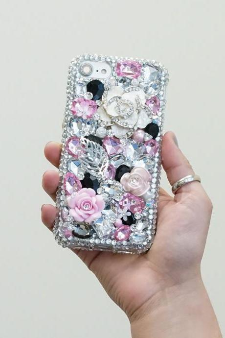 Never Leaf White Rose Pink Stones Genuine Crystals Diamond Sparkle Bling Case For iPhone X XS Max XR 7 8 Plus Samsung Galaxy S9 Note 9