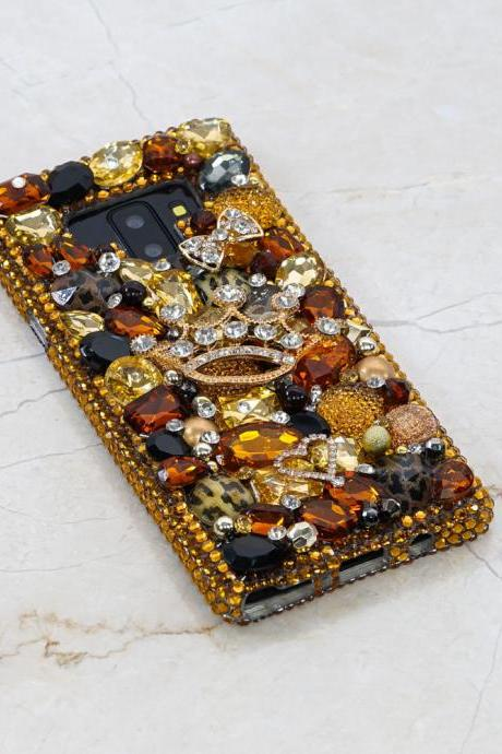 Vintage Leopard Feline Gold Queen Crown Genuine Crystals Diamond Sparkle Bling Case For iPhone X XS Max XR 7 8 Plus Samsung Galaxy S9 Note 9