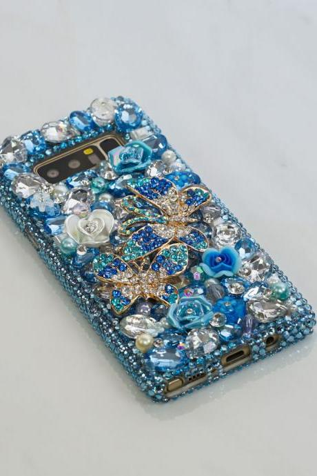 Aqua Blue Double Butterfly Flowers Genuine Crystals Diamond Sparkle Bling Case For iPhone X XS Max XR 7 8 Plus Samsung Galaxy S9 Note 9