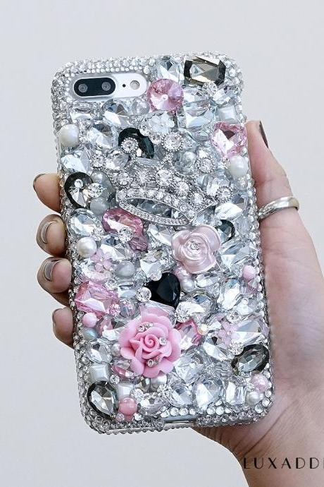 Tiaras Trinkets Silver Diamond Pink Roses Genuine Clear Crystals Sparkle Bling Case For iPhone X XS Max XR 7 8 Plus Samsung Galaxy S9 Note 9