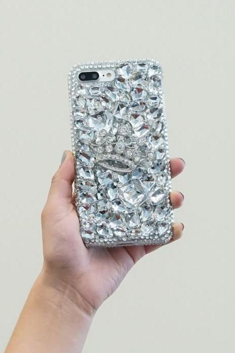 Diamond Silver Crown Gem Stones Genuine Clear Crystals Diamond Sparkle Bling Case For iPhone X XS Max XR 7 8 Plus Samsung Galaxy S9 Note 9